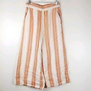 Christian Siriano Peach Linen Stripe wide leg pant